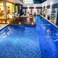Piscina em vinil com Lounge decorado