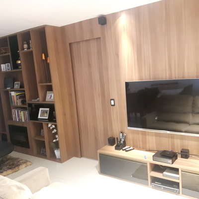 Painel com Home Theater