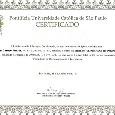 CERTIFICADOS DO SÓCIO NELSON CARUSO JUNIOR