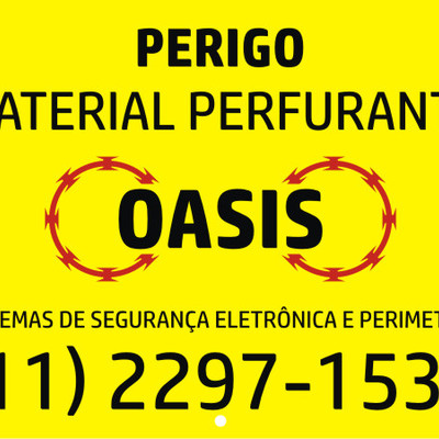 Placa de advertência da Oasis