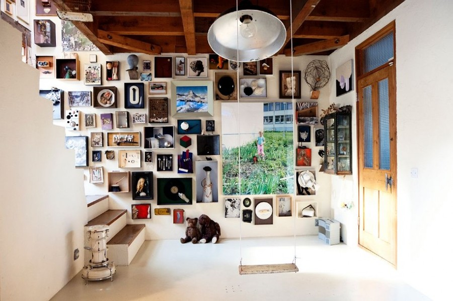 Amazing-gallery-found-object-design-with-a-lot-of-unique-ornament-and-frame-picture-for-wall-picture-collage-ideas-with-attractive-pendant-lamp-and-indoor-wooden-swing-and-stai