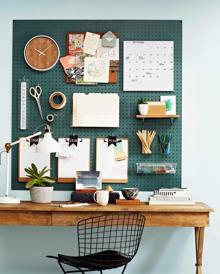 Pegboard no home office