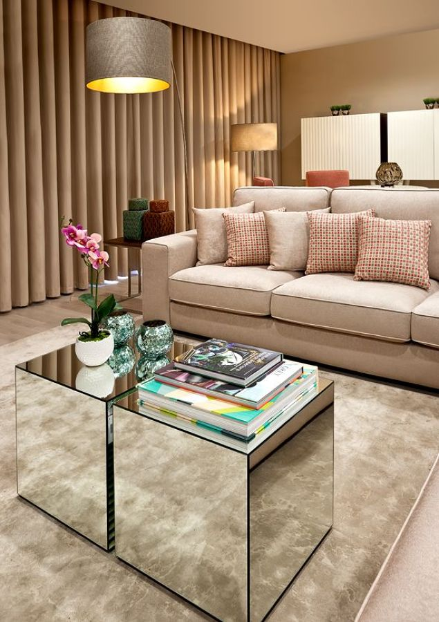 Living room with mirrored coffee table