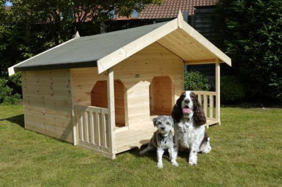 Complete build a double dog house wood creative for Double dog house for large dogs